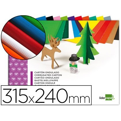 BLOC TREBALLS MANUALS LIDERPAPEL CARTÓ ONDULAT 240X315MM 10 FULLS COLORS ASSORTITS