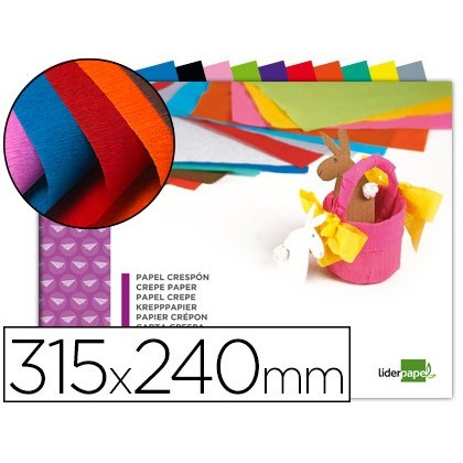BLOC TREBALLS MANUALS LIDERPAPEL crespó 240X315MM 10 FULLS COLORS ASSORTITS