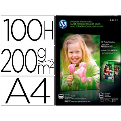 PAPEL HP PHOTO SEMI GLOSSY 200G / M2 DIN A4 100H