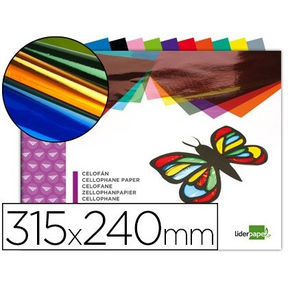BLOC TRABAJOS MANUALES LIDERPAPEL CELOFAN 240X315MM 10 HOJAS COLORES SURTIDOS