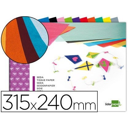 BLOC TRABAJOS MANUALES LIDERPAPEL SEDA 240X315MM 10 HOJAS COLORES SURTIDOS