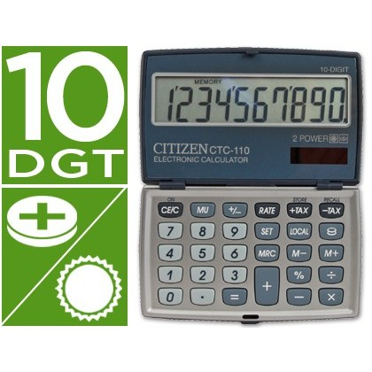 CALCULADORA CITIZEN BOLSILLO CTC-110 10 DIGITOS PLATA 106X63X14 MM