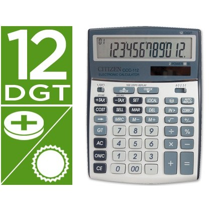 CALCULADORA CITIZEN SOBREMESA CCC-112 S 12 DIGITOS 202X155X33 MM