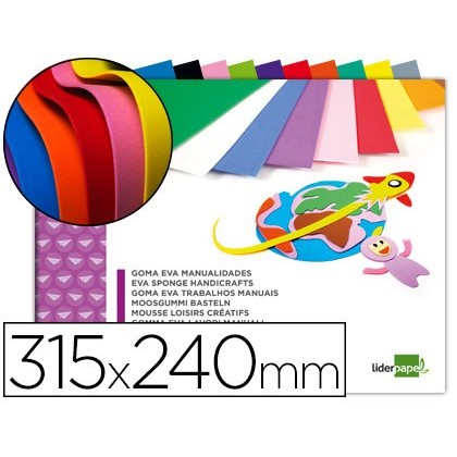 BLOC TREBALLS MANUALS LIDERPAPEL GOMA EVA 240X315MM 10 FULLS COLORS ASSORTITS