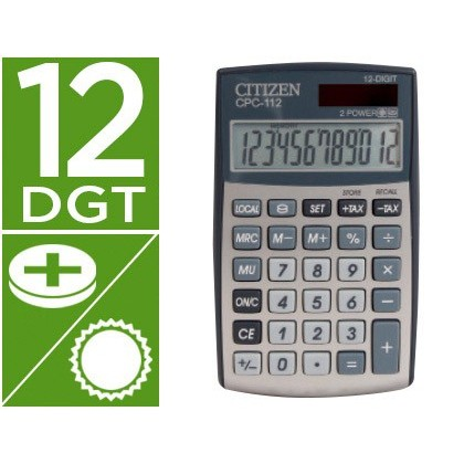 CALCULADORA CITIZEN BOLSILLO CPC-112 12 DIGITOS PLATA 120X72X9 MM