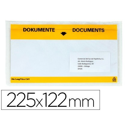 SOBRE AUTOADHESIU Q-CONNECT PORTADOCUMENTS MULTILINGUE 225X122 MM FINESTRA TOTALMENT TRANSPARENT
