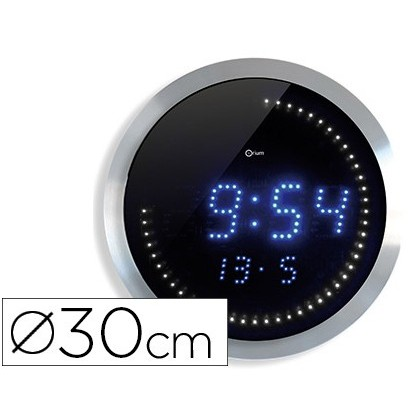 RELOJ DIGITAL CEP DE PARED OFICINA REDONDO 30 CM DE DIAMETRO COLOR NEGRO ESFERA ALUMINIO DIGITOS LED