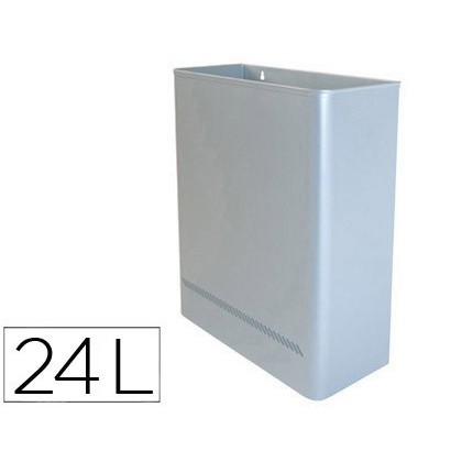 PAPELERA METALICA DE PARED 24L. 460X350X150 MM PLATA