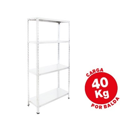 ESTANTERIA METALICA AR STORAGE 150X75X30 CM 4 ESTANTES 40 KG POR ESTANTE COLOR BLANCO