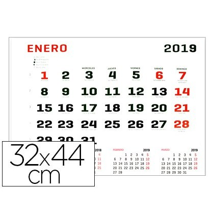 CALENDARIO PARED LIDERPAPEL 2019 32X44 CM PAPEL 70 GR
