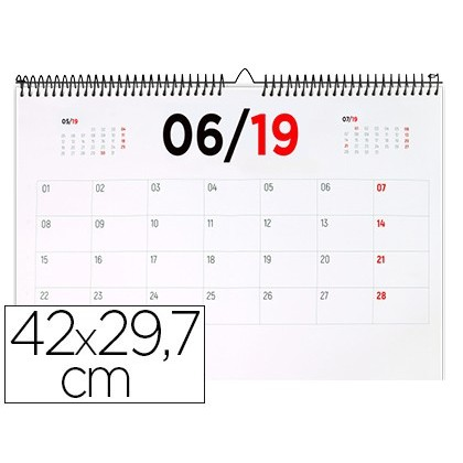 CALENDARIO PARED LIDERPAPEL 2019 42X29,7 CM PAPEL 70GR