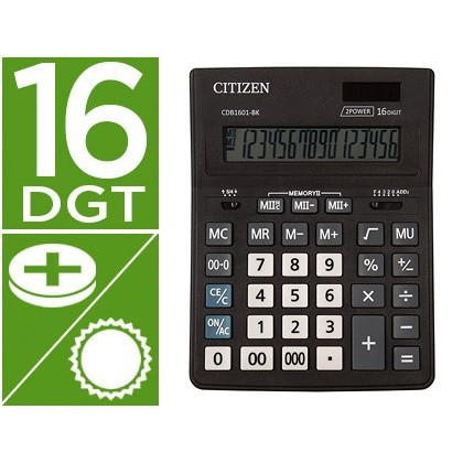 CALCULADORA CITIZEN SOBREMESA BUSINESS LINE ECO EFICIENTE SOLAR Y PILAS 16 DIGITOS 200X157X35 MM