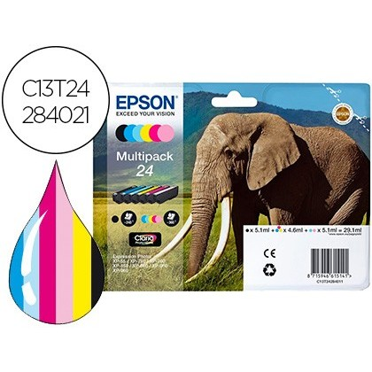 INK JET EPSON 24 CLARIA EXPRESSION XP-55 / 750 / 760 / 850 /860 / 950 / 960 MULTIPACK DE 6 COLORES