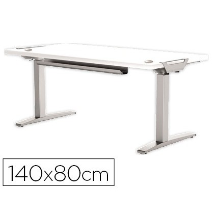MESA DE OFICINA LEVADO BASE METAL ACERO PINTADO SISTEMA ELECTRICO REGULABLE ALTURA TABLERO BLANCO 140 X 80 CM