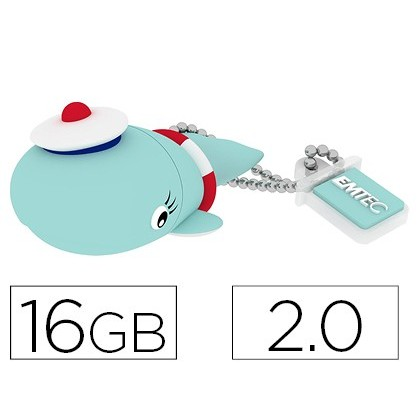MEMORIA USB EMTEC FLASH 16 GB 2.0 BALLENA