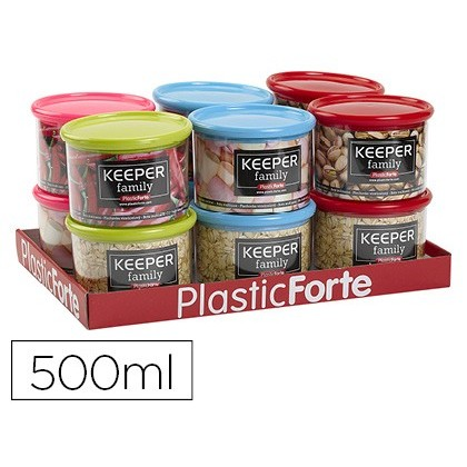BOTE MULTIUSOS PLASTICO 500 ML CON TAPA DE COLOR 110X110X80 MM