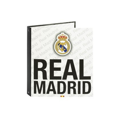 CARPETA 4 ANILLAS 25 MM REDONDAS SAFTA CUARTO FORRADA REAL MADRID