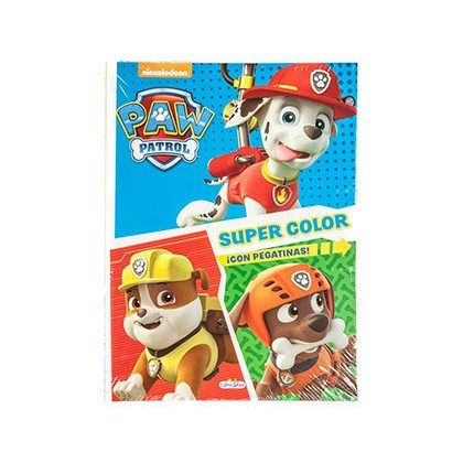 CUADERNO DE COLOREAR PATRULLA CANINA SUPERCOLOR CON PEGATINAS 48 PAGINAS 210X280 MM