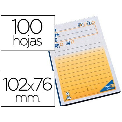 BLOC DE NOTAS ADHESIVAS QUITA Y PON POST-IT 102X76 MM TELEFONICO -7694-