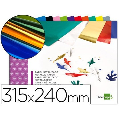 BLOC TRABAJOS MANUALES LIDERPAPEL PAPEL METALIZADO 240X315 MM 10 HOJAS COLORES SURTIDOS