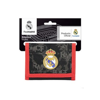 BOLSO ESCOLAR SAFTA PORTATODO REAL MADRID BLACK BILLETERA 125X95 MM