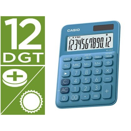 Calculadora casio ms-20uc-bu sobremesa 12 digitos tax +/- color azul