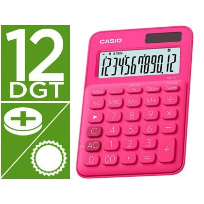 Calculadora casio ms-20uc-rd sobremesa 12 digitos tax +/- color fucsia