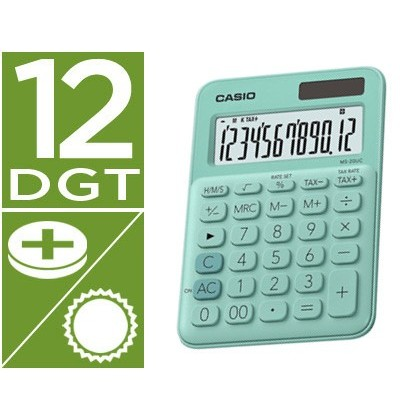 Calculadora casio ms-20uc-gn sobremesa 12 digitos tax +/- color verde