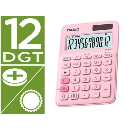 Calculadora casio ms-20uc-pk sobremesa 12 digitos tax +/- color rosa
