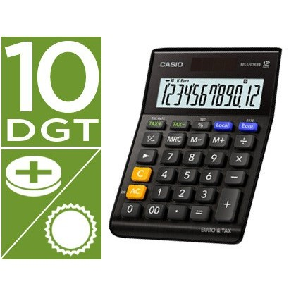 Calculadora casio ms-120terii-bk sobremesa 12 digitos tax +/- tecla doble cero y calculo impuestos