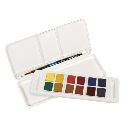 Acuarela daler rowney aquafine travel set con pincel caja de 12 colores surtidos