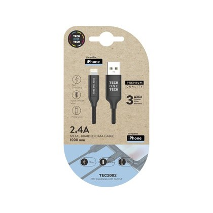 Cable usb 2.4 tech one tech braided nylon tipo usb apple micro usb longitud 1 mt color negro