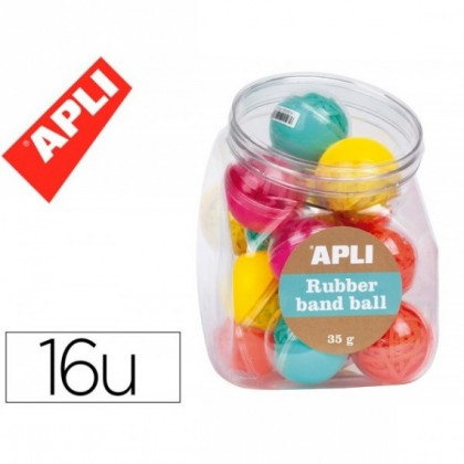 GOMILLA APLI COLLECTION RUBBER BAND BOLA 35 GR EXPOSITOR DE 16 UNIDADES COLORES FLUORESCENTE SURTIDOS