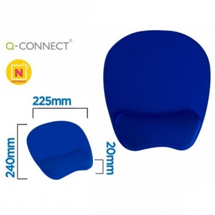 ALFOMBRILLA PARA RATON Q-CONNECT CON REPOSAMUÑECAS ERGONOMICA DE GEL COLOR AZUL 225X240X20 MM