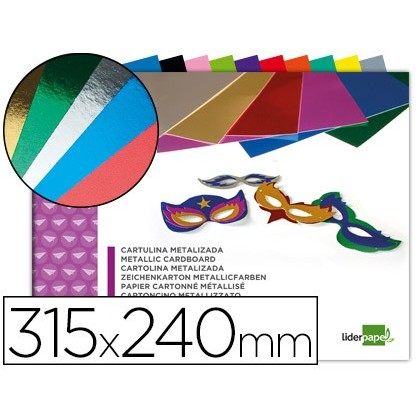 BLOC TRABAJOS MANUALES LIDERPAPEL CARTULINA METALIZADA 240X315MM 10 HOJAS COLORES SURTIDOS