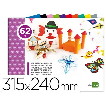 BLOC TRABAJOS MANUALES LIDERPAPEL MULTIPLE PREMIUM 240X315MM 62 HOJAS COLORES SURTIDOS