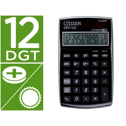 CALCULADORA CITIZEN BOLSILLO CPC-112 BKWB 12 DIGITOS NEGRA 120X72X9 MM
