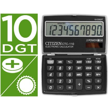 CALCULADORA CITIZEN BOLSILLO CTC-110 BKWB 10 DIGITOS NEGRA