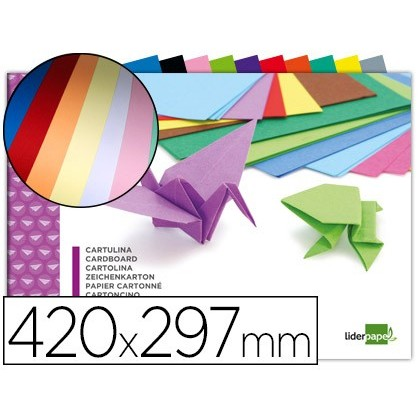 BLOC TRABAJOS MANUALES LIDERPAPEL CARTULINA 297X420MM 10 HOJAS COLORES SURTIDOS