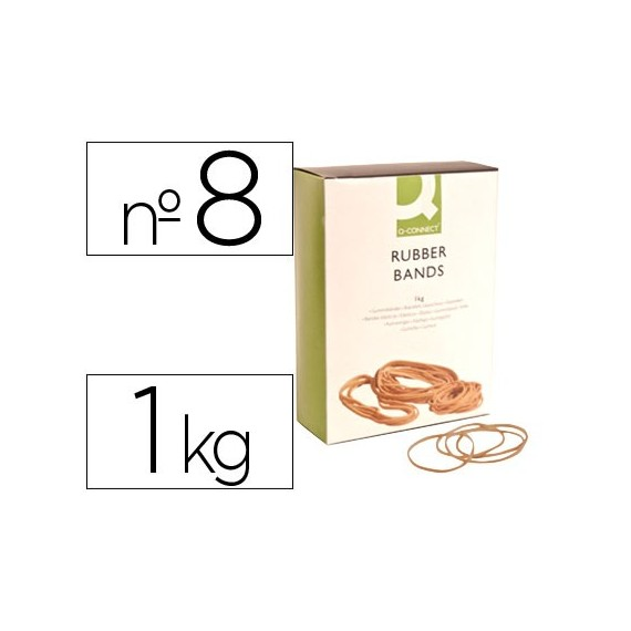 GOMILLAS ELASTICAS Q-CONNECT 1000 GR NUMERO 8 80 X 2 MM