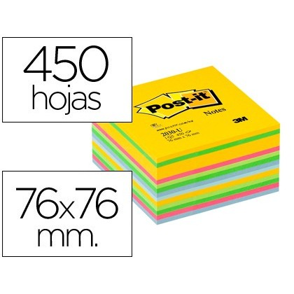 BLOC DE NOTAS ADHESIVAS QUITA Y PON POST-IT 76X76 MM GAMA ULTRA ALEGRIA CUBO DE 450 HOJAS