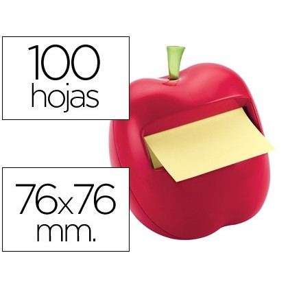 BLOC DE NOTAS ADHESIVAS QUITA Y PON POST-IT 76X76 MM FORMA DE MANZANA CON DISPENSADOR