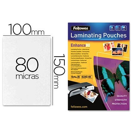 BOLSA DE PLASTIFICAR FELLOWES FOTO 150X100MM 80 MICRAS PACK DE 25