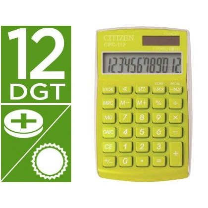 CALCULADORA CITIZEN BOLSILLO CPC-112GRWB 12 DIGITOS VERDE SERIE WOW