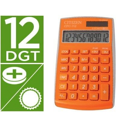 CALCULADORA CITIZEN BOLSILLO CPC-112ORWB 12 DIGITOS NARANJA SERIE WOW