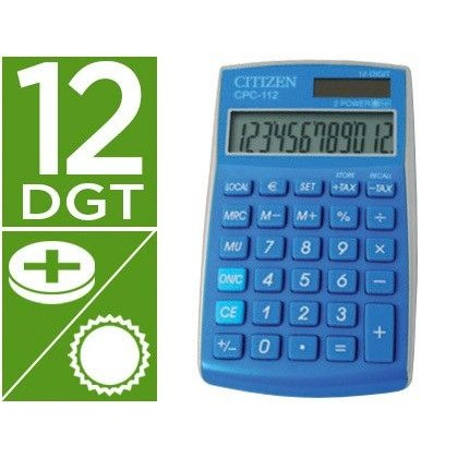 CALCULADORA CITIZEN BOLSILLO CPC-112LBWB 12 DIGITOS CELESTE SERIE WOW