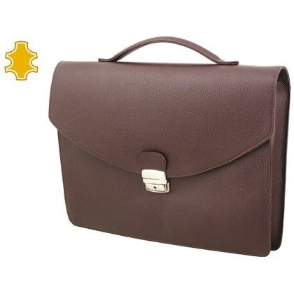 CARTERA PORTAFOLIOS ARTESANIA DE PIEL COLOR MARRON CHOCOLATE CON BROCHE 390X340X80 MM