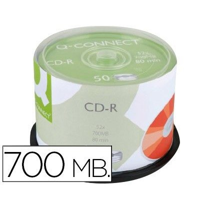 CD-R Q-CONNECT CON SUPERFICIE 100% IMPRIMIBLE PARA INKJET CAPACIDAD 700MB DURACION 80MINVELOCIDAD 52