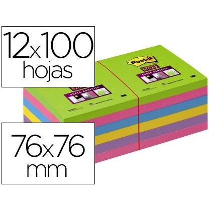 BLOC DE NOTAS ADHESIVAS QUITA Y PON POST-IT SUPER STICK ULTRA 76X76 MM PACK DE 12 BLOC VERDE ROSA AM