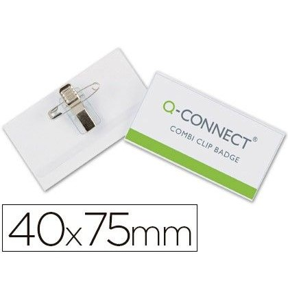 IDENTIFICADOR Q-CONNECT CON PINZA E IMPERDIBLE KF17457 40X75 MM